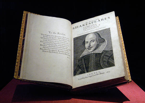 First folio on display in the Exhibition Hall