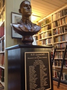 A bust of H.P. Lovecraft at the Providence Athenaeum