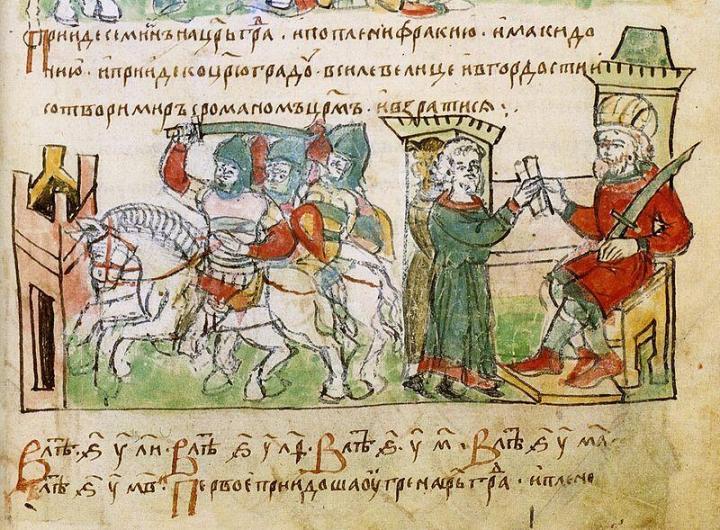 Byzantine Emperor Romanos I Lekapenos negotiating terms with Simeon I of Bulgaria. Radziwill Chronicle (C.15th)